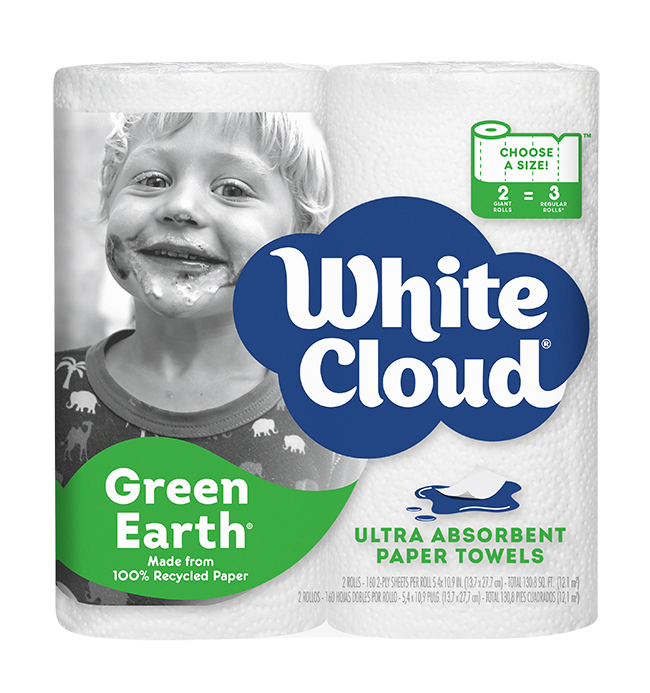 White Cloud - Green Earth Paper Towels 100% Recycled