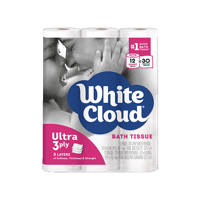 White Cloud Giant Roll Ultra 3-Ply Bath Tissue