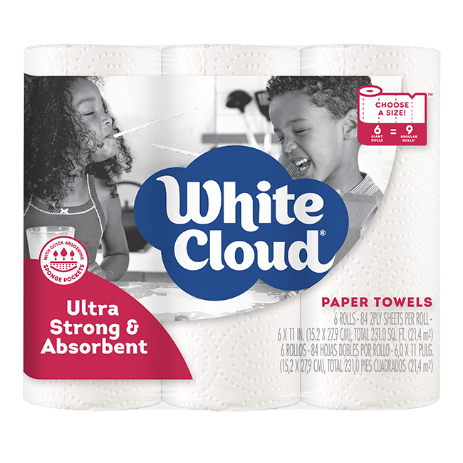 White Cloud Ultra Strong and Absorbent Paper Towels